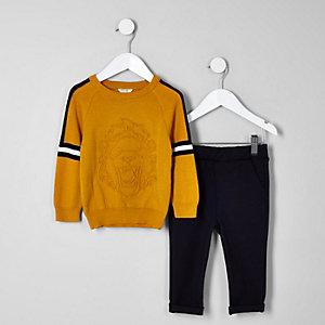 Mini - Outfit met donkergele pullover met reliëf voor jongens