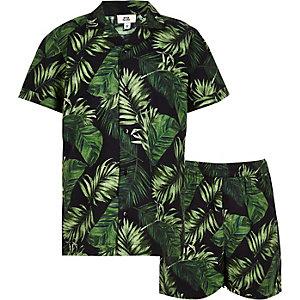 Zwarte pyjamaset met tropische print voor jongens