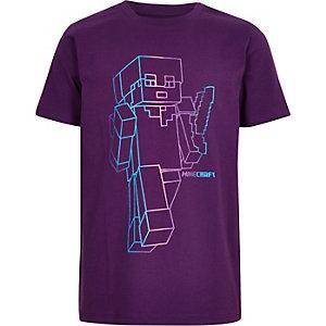 Paars T-shirt met Minecraft-print voor jongens
