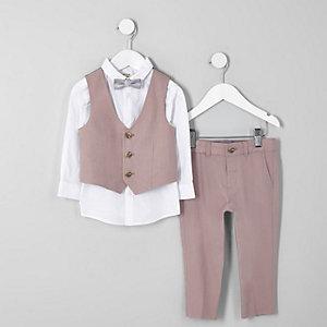 Mini - Roze outfit van linnen met vlinderdas voor jongens