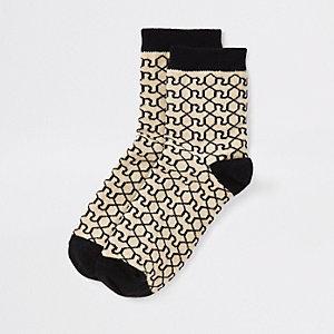 Lot de chaussettes imprimé monogramme RI marron pour garçon