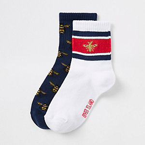 Boys white bee print socks multipack