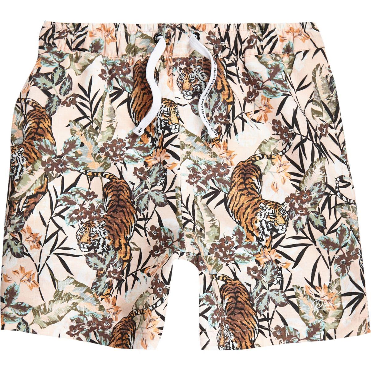 Boys pink tiger print swim shorts