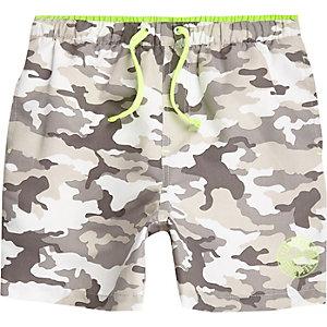 Grijze zwemshort met camouflageprint voor jongens