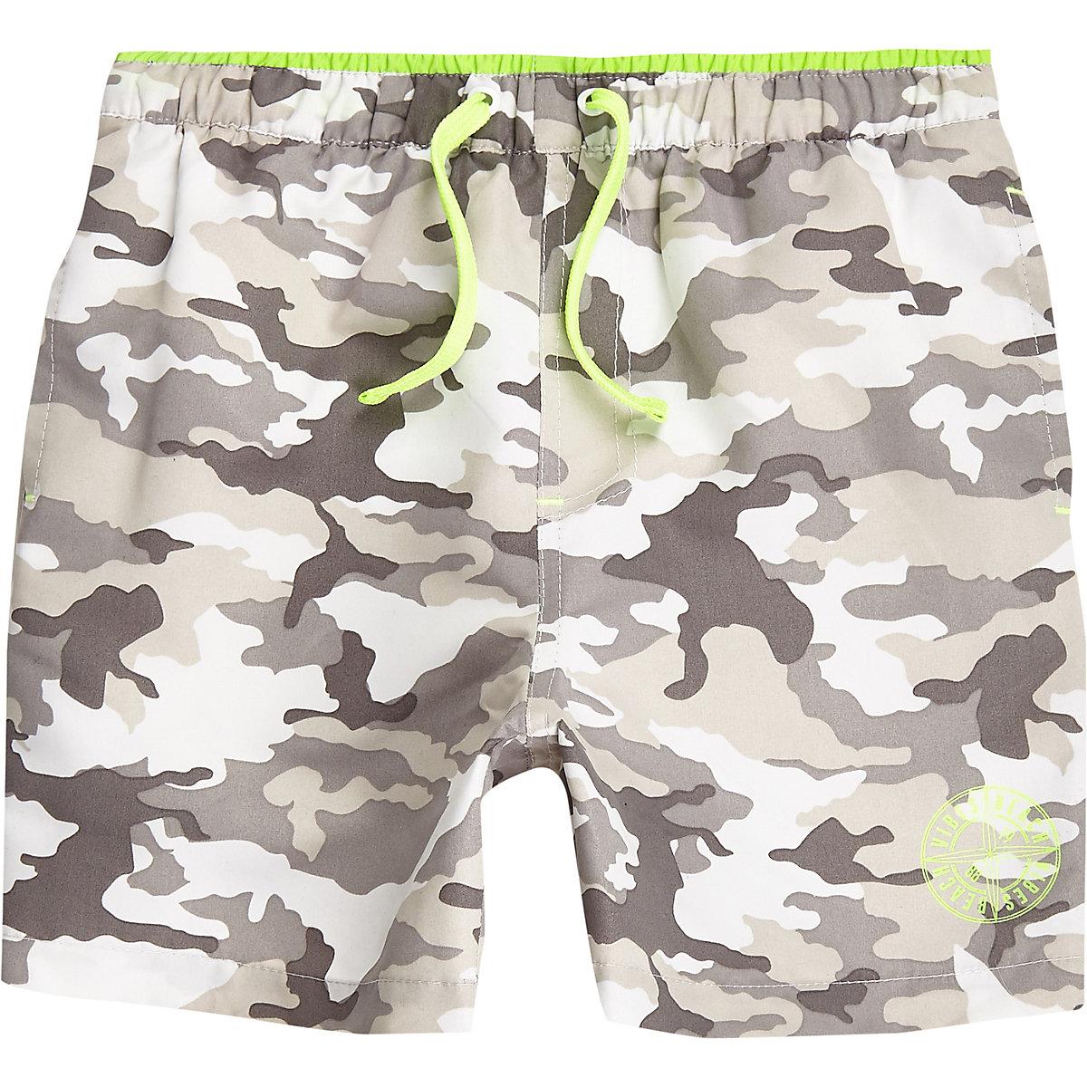 Boys grey camo print swim shorts