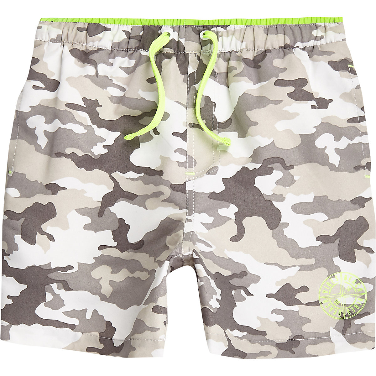 Boys grey camo print swim trunks