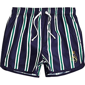 Boys navy stripe RI runner swim trunks