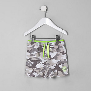 Mini boys grey camo swim trunks