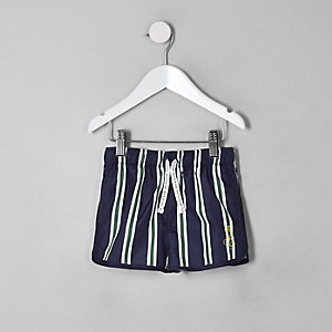 Mini boys navy stripe runner swim shorts