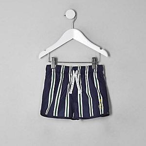 Mini boys navy stripe runner swim shorts