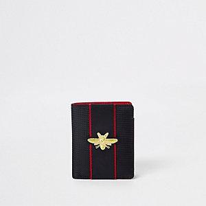 Zwarte portemonnee met geborduurde wesp en bies voor jongens