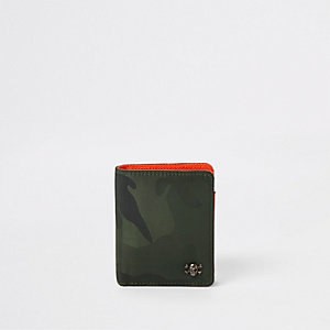 Kaki uitvouwbare portemonnee met camouflageprint voor jongens