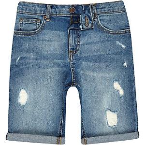 Boys mid blue ripped slim fit denim shorts