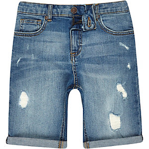 Middenblauwe ripped slim-fit denim short voor jongens