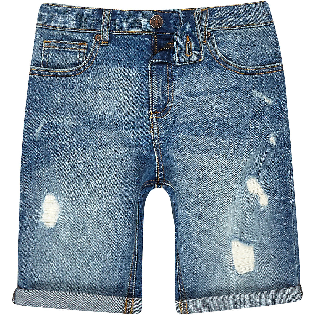 Boys mid blue ripped slim fit denim shorts