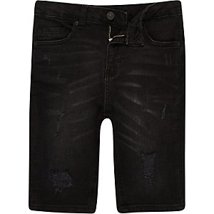 Boys black Sid washed ripped denim shorts