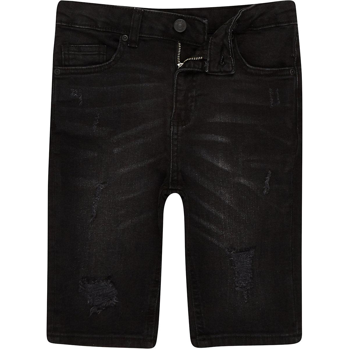 Boys black Sid washed ripped denim shorts