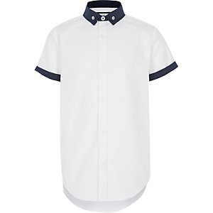 Wit overhemd met dubbele kraag voor jongens