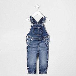 Mittelblaue Jeans-Latzhose