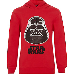 Boys red Star Wars reversible sequin hood