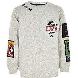 Graues Sweatshirt mit Marvel-Aufnäher