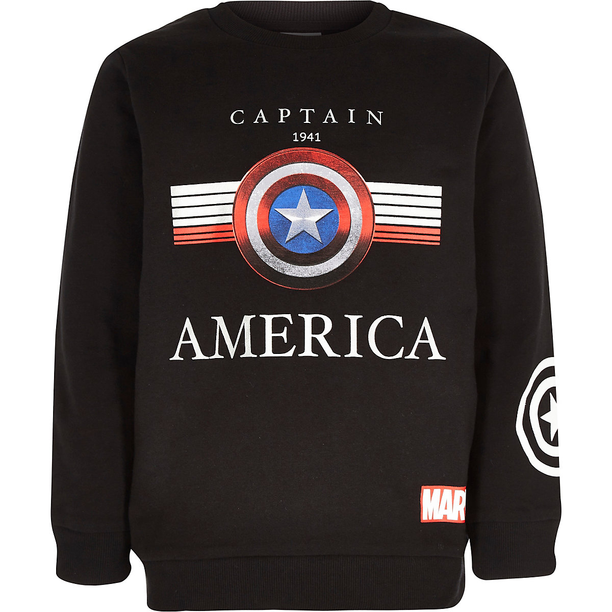Boys black Captain America print sweatshirt