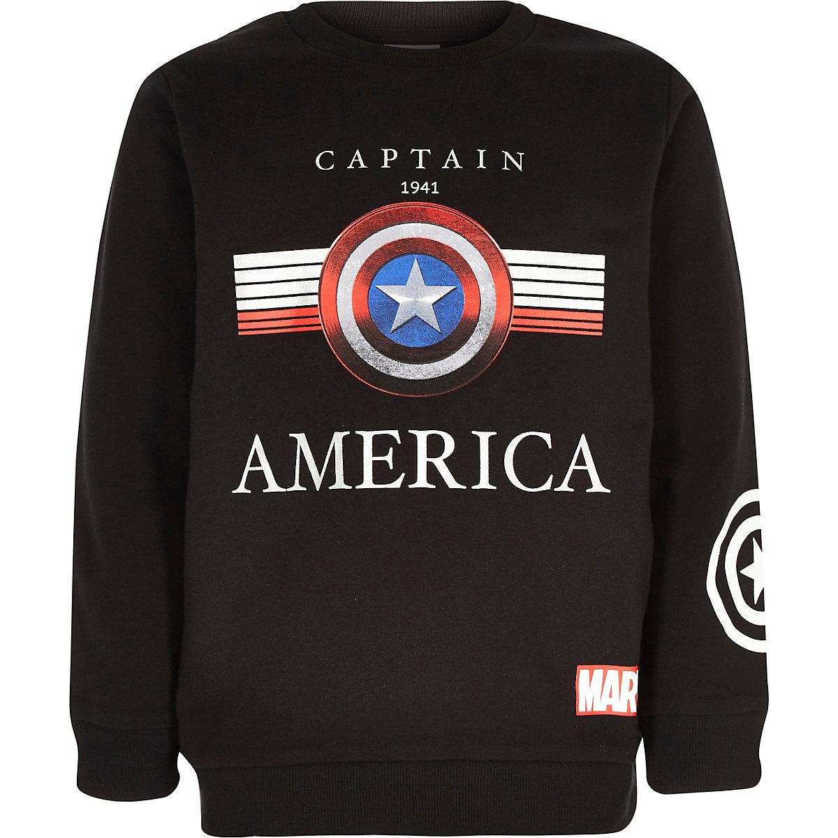 Zwart sweatshirt met Captain America-print voor jongens