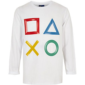 Boys white PlayStation long sleeve T-shirt