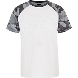 Grijs Star Wars T-shirt met camouflageprint en raglanmouwen voor jongens