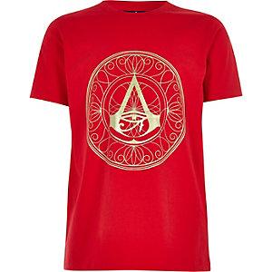 Rood T-shirt met Assassin's Creed-folieprint voor jongens