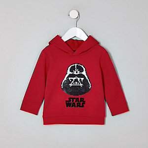 Mini boys red Star Wars reversible hoodie