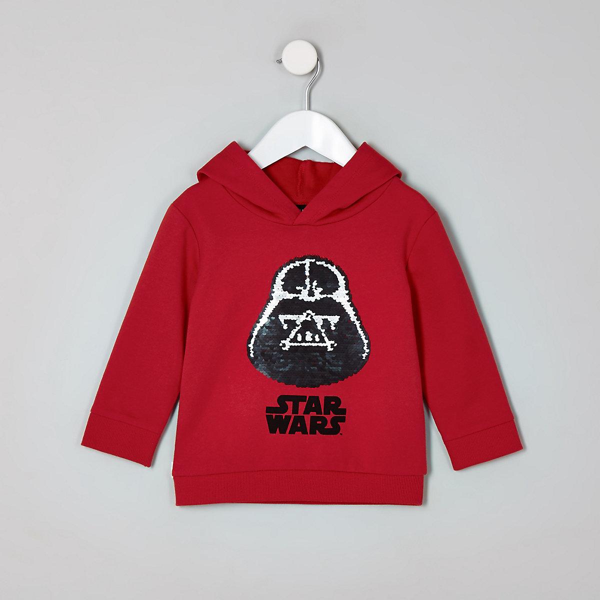 Mini boys red Star Wars reversible hoodie