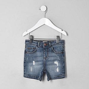 Blaue Slim Fit Jeansshorts im Used-Look