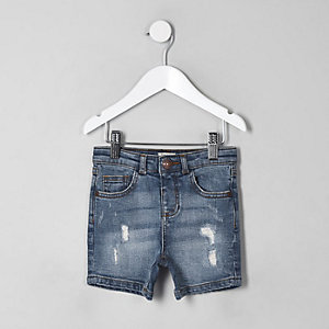 Mini - Blauwe ripped slim-fit denim short voor jongens