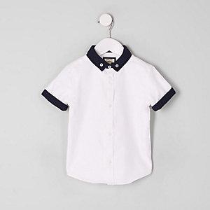 Mini - Wit overhemd met dubbele kraag voor jongens