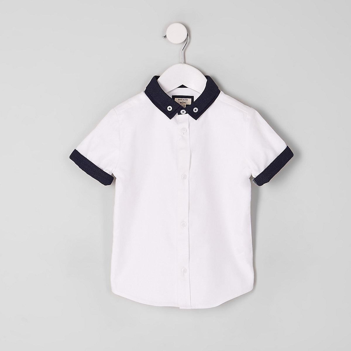 Mini boys white double collar shirt