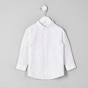 Mini - Wit overhemd met knopen op de kraag voor jongens