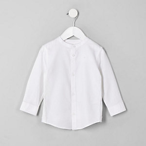 Mini boys white grandad shirt