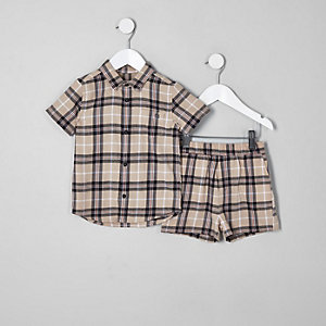 Mini boys stone check short outfit