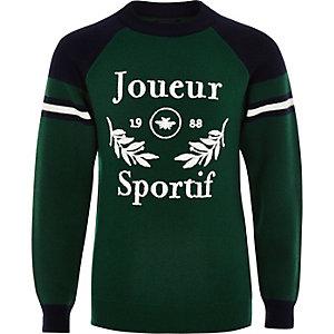 Boys green 'Joueur sportif' sweater