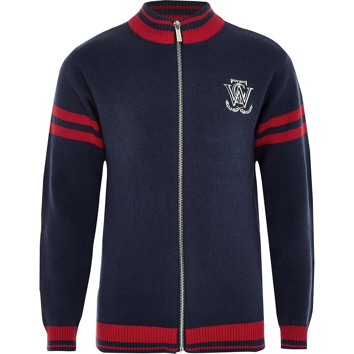 Boys navy zip front cardigan