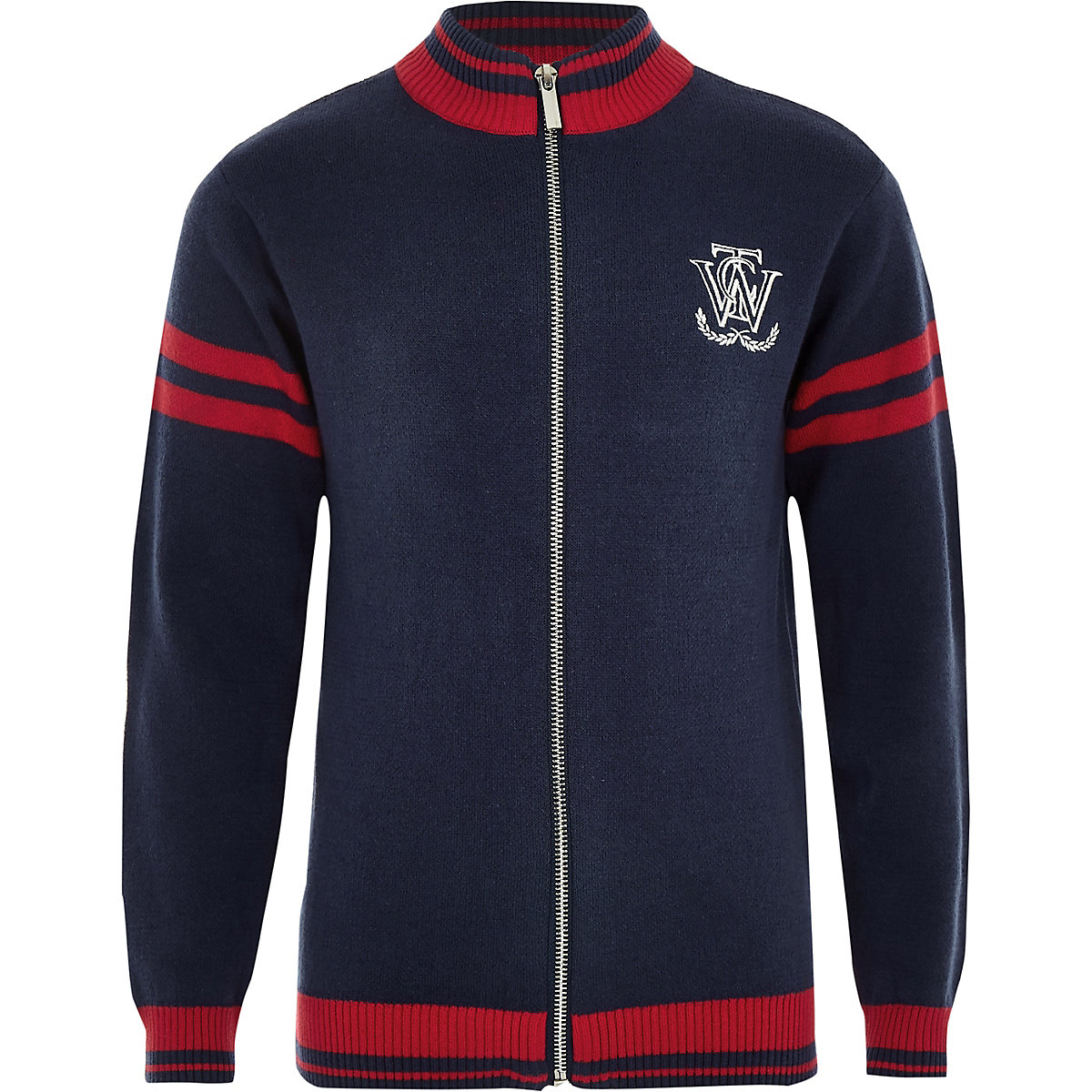 Boys navy zip front cardigan