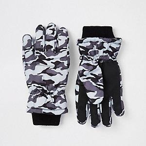 Grijze handschoenen met camouflageprint voor jongens