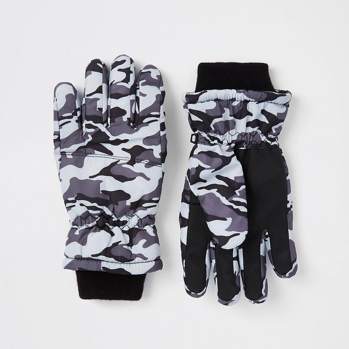 Graue Handschuhe mit Camouflage-Muster