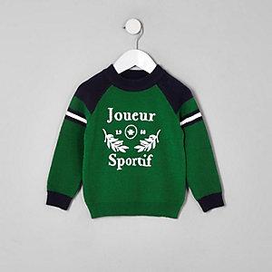 Mini - Groene pullover met 'Joueur sportif'-print