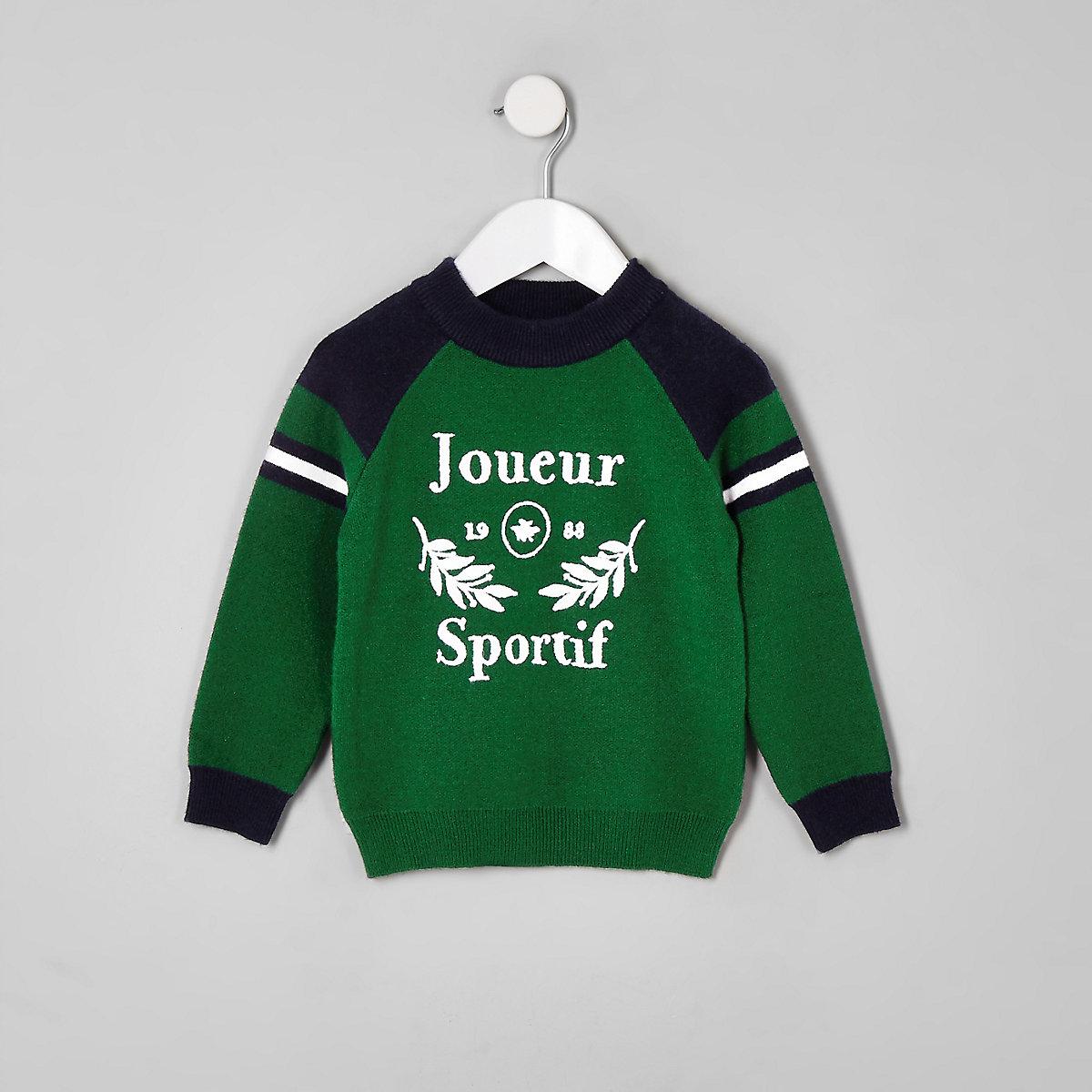 Mini boys green 'Joueur sportif' jumper