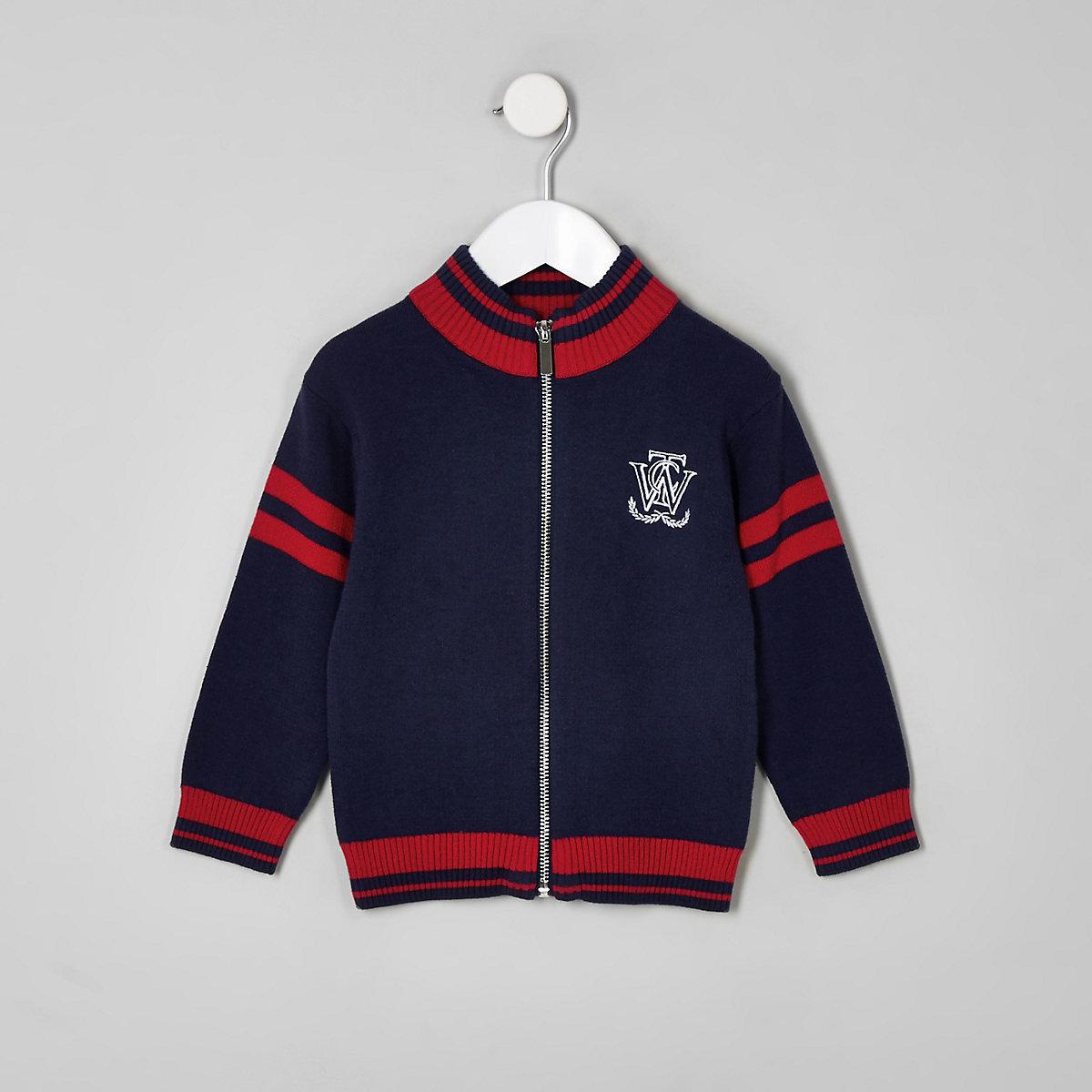 Mini boys navy zip front cardigan