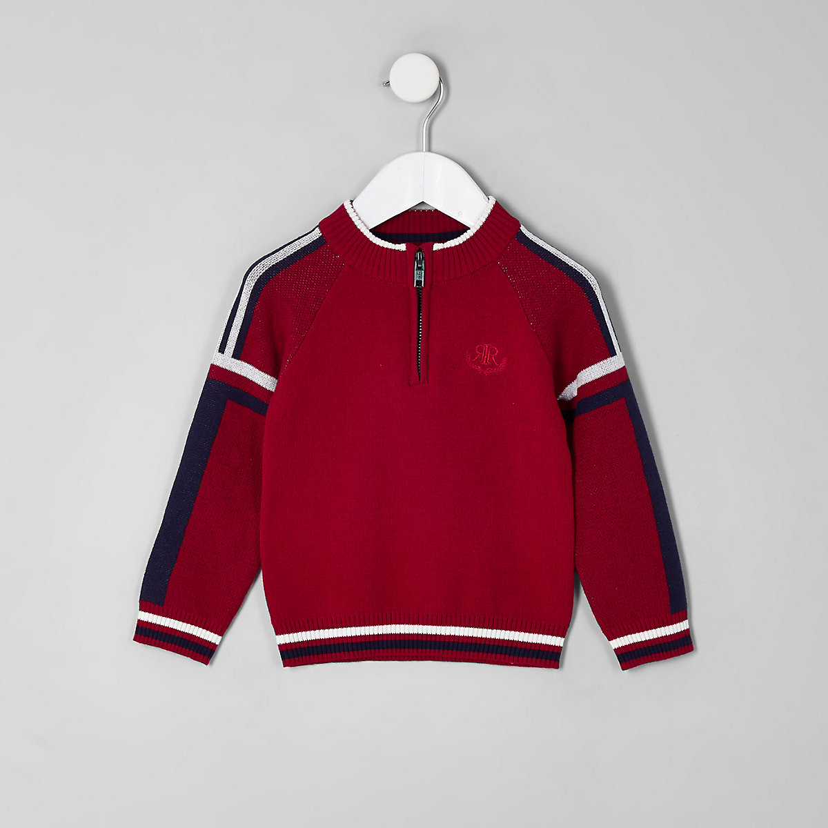 Mini boys red funnel neck zip sweater