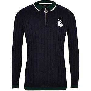 Boys navy R96 zip polo shirt