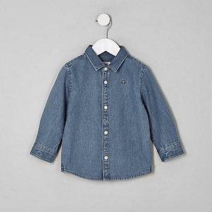 Mini boy blue wasp embroidered denim shirt